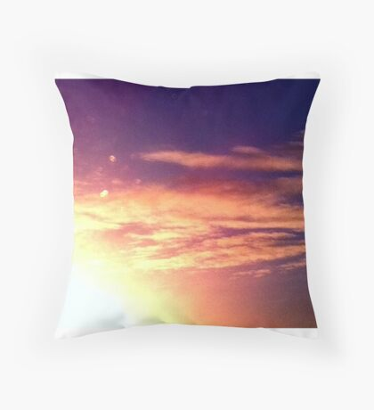 sunny red golden blue sky  Throw Pillow