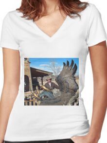 Cowboys and Eagles Women's Fitted V-Neck T-Shirt