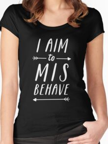 Aim To Misbehave | Black Women's Fitted Scoop T-Shirt