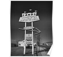 Route 66 - Sands Motel Sign 001 BW Poster