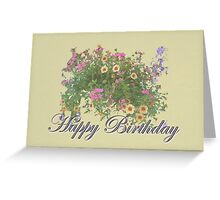Happy Birthday Card - Hanging Basket Greeting Card