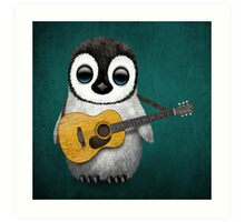 Musical Baby Penguin Playing Guitar Teal Blue Art Print
