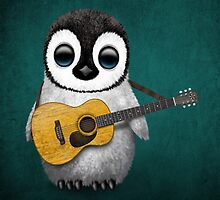 Musical Baby Penguin Playing Guitar Teal Blue by Jeff Bartels
