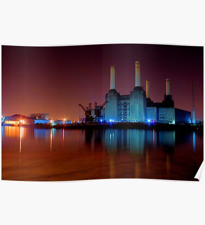 Battersea power station night shot Poster