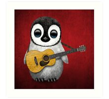 Musical Baby Penguin Playing Guitar Red Art Print