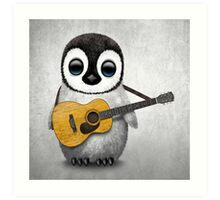 Musical Baby Penguin Playing Guitar White Art Print