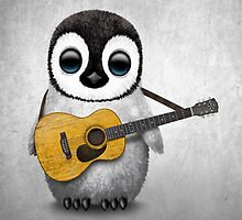 Musical Baby Penguin Playing Guitar White by Jeff Bartels