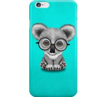 Cute Baby Koala Bear Cub Wearing Glasses on Blue iPhone Case/Skin