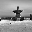 Inuit Inukshuk on Hudson Bay in Black &amp; White by Carole-Anne