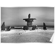 Inuit Inukshuk on Hudson Bay in Black & White Poster