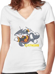 Catniss Women's Fitted V-Neck T-Shirt