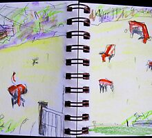 cows in landscape by donnamalone