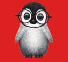 Cute Baby Penguin Wearing Eye Glasses on Blue One Piece - Short Sleeve