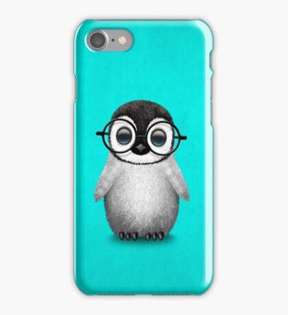 Cute Baby Penguin Wearing Eye Glasses on Blue iPhone Case/Skin