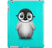 Cute Baby Penguin Wearing Eye Glasses on Blue iPad Case/Skin