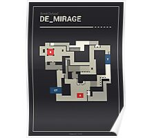 Counter-Strike de_mirage with white outline Poster
