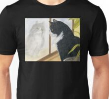 Tuxedo Cat Reflection Cathy Peek Animal Art Unisex T-Shirt