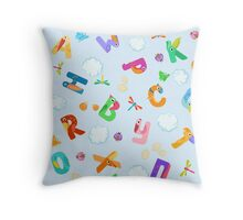 Seamless pattern from letters like birds Throw Pillow