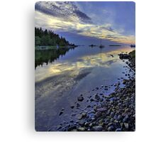 Nordic summer night seascape. Canvas Print