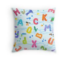 Seamless pattern from letters like sea inhabitants Throw Pillow