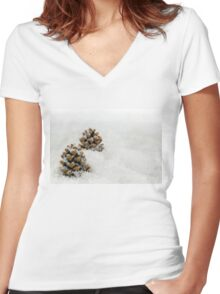 Fir Cones in a Snow Scene Women's Fitted V-Neck T-Shirt