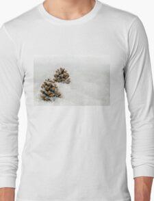 Fir Cones in a Snow Scene Long Sleeve T-Shirt