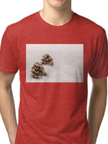 Fir Cones in a Snow Scene Tri-blend T-Shirt