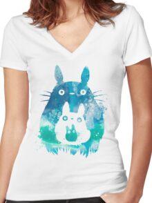 Totoro - Blue Sky Women's Fitted V-Neck T-Shirt
