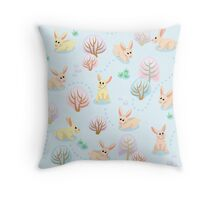Seamless pattern of winter forest with rabbits between trees Throw Pillow