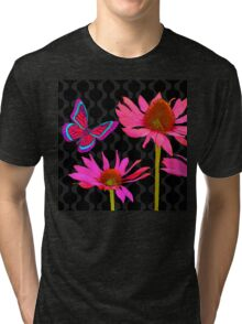 Flower Pop II, floral Pop Art Echinacea, dragonfly Tri-blend T-Shirt