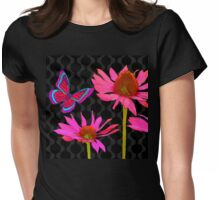 Flower Pop II, floral Pop Art Echinacea, dragonfly Womens Fitted T-Shirt