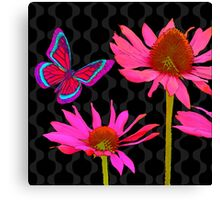 Flower Pop II, floral Pop Art Echinacea, dragonfly Canvas Print