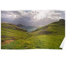 Lush green hills. Poster