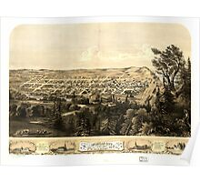 Panoramic Maps Bird's eye view of Michigan City LaPorte County Ind 1869 Poster