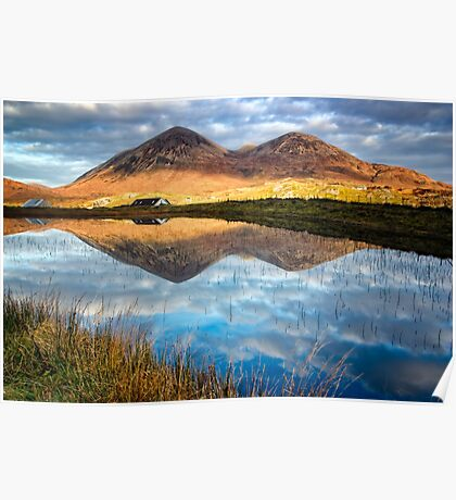 Red Cuillin Reflection Poster