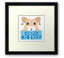 CUTE crazy rat lady (in cream colour) Framed Print