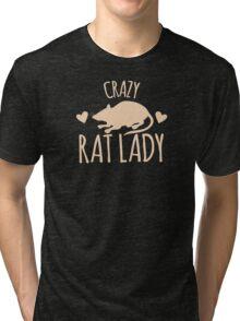 Crazy Rat Lady (in cream colour) Tri-blend T-Shirt