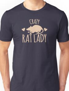 Crazy Rat Lady (in cream colour) Unisex T-Shirt