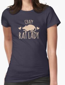 Crazy Rat Lady (in cream colour) Womens Fitted T-Shirt