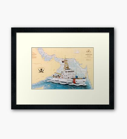 USCGC Baranof Nautical Chart Map Cathy Peek Framed Print