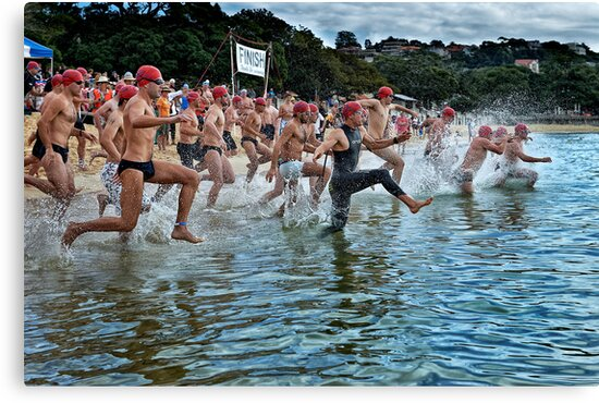 Balmoral Ocean Swim - Red Caps by Ian English