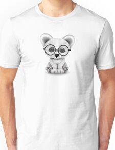 Cute Polar Bear Cub with Eye Glasses on White Unisex T-Shirt