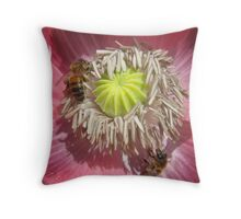 Bees in Pink Poppy Throw Pillow