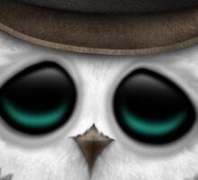 Cute Baby Snowy Owl Cowboy with Stars Sticker