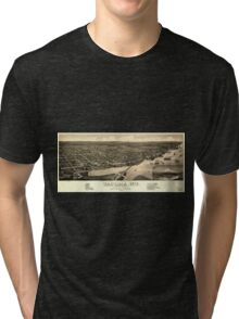 Panoramic Maps View of the city of Tacoma WT Puget-Sound county seat of Pierce Cty 1884 Tri-blend T-Shirt