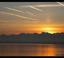 Sunrise over Lake Léman by Marilyn Grimble