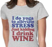 Wine vs Yoga Humor Womens Fitted T-Shirt