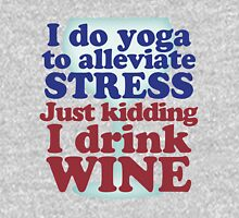 Wine vs Yoga Humor Womens Fitted T-Shirt