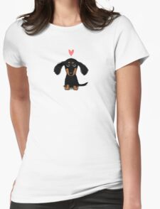Dachshund Puppy Love Womens Fitted T-Shirt