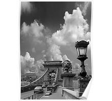 The Chain Bridge. The Danube River in Budapest at night. Number 12 Poster